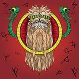 Языческий старый бог и змейка Стоковые Фото