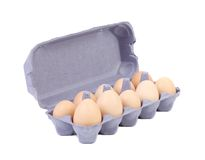 10 яичек в голубой коробке коробки. Стоковая Фотография RF
