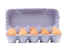 10 яичек в голубой коробке коробки. Стоковые Фотографии RF