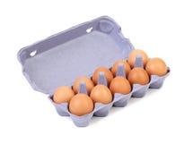 10 яичек в коробке коробки Стоковое Изображение RF