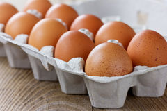10 яичек в упаковке картона Стоковые Фотографии RF