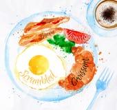 Яичка бекона акварелей завтрака Стоковые Изображения