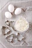 яичка выпечки flour форма Стоковые Фото