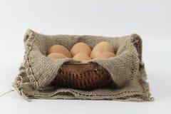 Яичка в корзине Стоковая Фотография RF