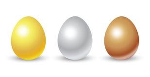 Яичка золота, серебра и бронзы Стоковое Изображение RF