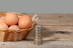 Яичка и деньги Стоковое Изображение