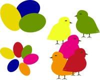 Яичка и цыпленоки Иллюстрация вектора