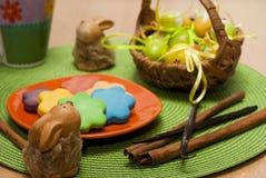 Яичка, печенья и кролики Стоковые Изображения RF
