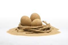 Яичка сделанные из песка в песочном гнезде стоковые изображения rf