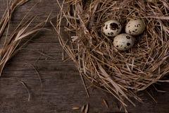 Яичка триперсток в гнезде на предпосылке деревенской соломы деревянной Стоковая Фотография RF