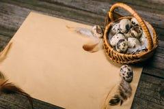 Яичка триперсток крупного плана внутри меньшей корзины на листе бумаги на деревенской деревянной предпосылке Стоковая Фотография RF