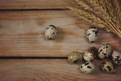 Яичка триперсток лежат на досках рядом с колосками пшеницы Стоковое фото RF