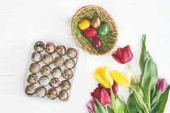 Яичка триперсток покрашенные для пасхи с красочными тюльпанами на белой предпосылке стоковая фотография rf