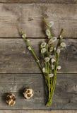 2 яичка триперсток с хворостинами вербы на старом деревянном столе Стоковые Изображения RF