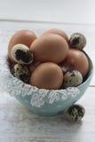 Яичка цыпленка и триперсток в шаре Стоковое фото RF