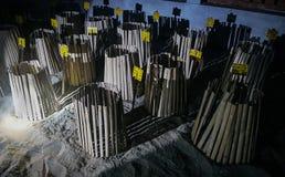 Яичка черепахи похороненные в песке Черепахи инкубатора внешние Стоковая Фотография RF