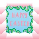 Яичко зеленого цвета пасхи на розовой белой предпосылке Стоковые Фотографии RF