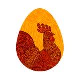 Яичко курицы Цыпленок, кран или петух также вектор иллюстрации притяжки corel иллюстрация штока
