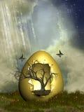 Яичко фантазии с деревом иллюстрация вектора