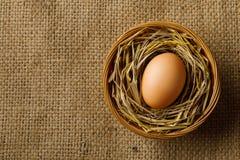 Яичко цыпленка или курицы на соломе в плетеной корзине на дерюге стоковое фото rf