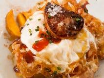 Яичница с картошками и foie стоковые изображения rf