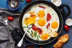 Яичницы с томатом и зелеными луками в лотке Свежий взгляд сверху завтрака, плоское положение стоковая фотография rf
