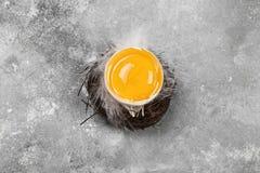 Яичный желток в гнезде на серой предпосылке Взгляд сверху еда вареников предпосылки много мясо очень стоковые фото