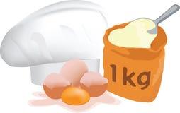 Яйца и мука готовые для смешивать иллюстрация вектора