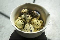 Яйца триперсток в небольшой белой плите на конкретной предпосылке, стоя на таблице стоковые фото