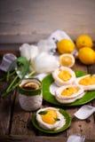 Яйцо сформировало гнезда меренги с творогом лимона традиционные печенья пасхи стоковое фото
