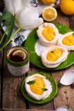 Яйцо сформировало гнезда меренги с творогом лимона традиционные печенья пасхи стоковые изображения