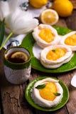 Яйцо сформировало гнезда меренги с творогом лимона традиционные печенья пасхи стоковые фото
