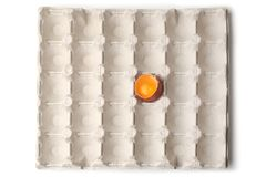 Яйцо цыпленка половина сломленная в подносе яйца стоковая фотография rf