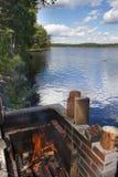 Яма огня озера Стоковые Изображения