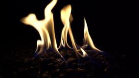 Яма огня пропана над черной вулканической породой видеоматериал