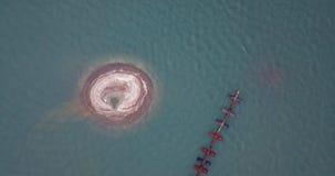 Яма песка после всасывать извлечения песка в Gulf of Thailand видеоматериал