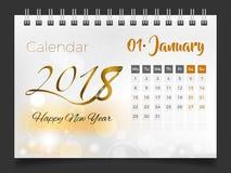 Январь 2018 Настольный календарь 2018 иллюстрация штока