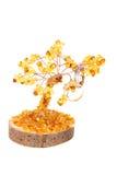 Янтарное дерево счастья и обручальных колец на задней части белизны Стоковое Изображение
