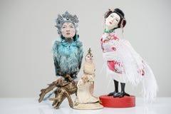 Японец фантазии мифа женщин сыча птицы фарфора Стоковое Изображение