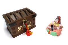 Японец Saraswati и коробка offertory в белизне Стоковые Изображения
