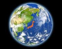 Япония в красном цвете от космоса иллюстрация штока
