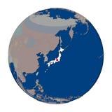 Япония на политическом глобусе Стоковые Фотографии RF