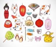 Япония покрасила элементы эскиза doodle Символы японии бесплатная иллюстрация
