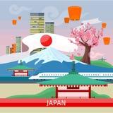 Япония путешествуя знамя японские наземные ориентиры иллюстрация вектора