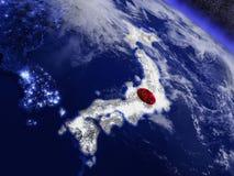 Япония с врезанным флагом от космоса Стоковое Фото