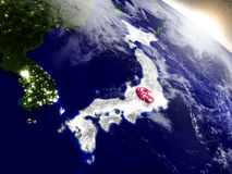 Япония с флагом в восходящем солнце Стоковое Изображение