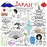 Япония doodles элементы Комплект нарисованный рукой с горой Fujiyama иллюстрация штока