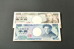 Японская банкнота 10000 иен и 1000 иен Стоковая Фотография