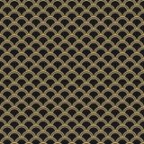 Японская безшовная картина вектора Традиционная восточная предпосылка волны черное золото бесплатная иллюстрация
