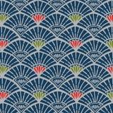 Японская голубая винтажная картина вентилятора Стоковые Фото